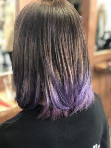19歳【ロブな髪型】バイオレットとピンクカラー。前髪あり