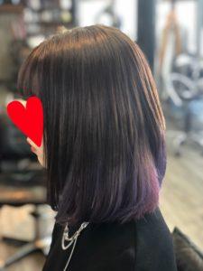 「前髪ありのログ髪」+バイオレットとピンクカラー