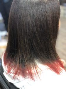 【裾カラー】SNSブームの赤に染め直し完成