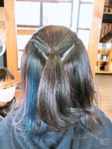 「手順」インナーを見せるヘアアレンジ