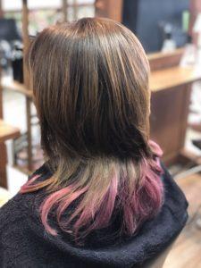 40代【毛先カラー ピンク】根元と毛先の色。どうすれば?