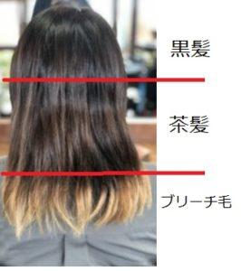 3色の髪にトリートメントカラー