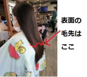 ヘアドネーション/サイドから見た髪の表面の不揃いの長さ