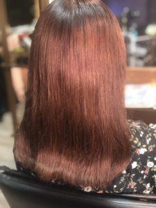 【ボルドーカラー 髪色】みどりに色落ちした髪→20分で解消