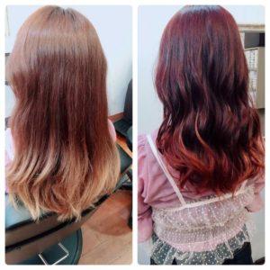 【7選 】ボルドーカラーのbefore&after。ベースの髪で変化